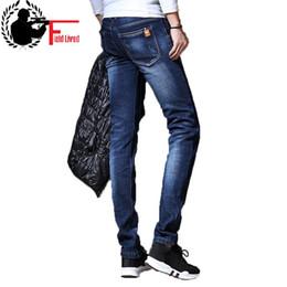 2019 jeans allineati in inverno Jeans addensati elasticizzati invernali da uomo Jeans dritti foderati in pile caldo Abbigliamento in velluto di moda Pantaloni in denim da uomo Pantaloni classici da uomo jeans allineati in inverno economici