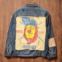 Leão casaco homens on-line-Maré de rua japonês marca Original designer de Apliques pano Padrão Leão para Homens denim jaqueta casaco Hip Hop Do Punk juventude Outerwear