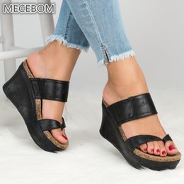 grey high heels shoes Promo Codes - Summer Women slippers Leather Wedges Open Toe Shoes High Heels Beach Ladies Shoes flip flops Platform Casual Beach Sandals 615W
