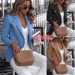 Tamanhos naturais do peito on-line-Plus Size Mulheres Blazers cor sólida Abotoamento Womens Tops Laple Neck Feminino Vestuário New Arrival