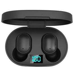 Mini TWS Wireless Headphones E6s Headphone som de alta fidelidade Bluetooth Headphone 5.0 Com dupla Mic Display Led Earphones Auto emparelhamento Headsets de Fornecedores de venda por atacado de iphone de maçã