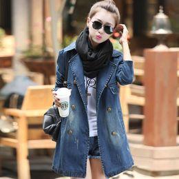 2019 más el tamaño de denim gabardinas gabardina de mezclilla de talla grande para mujer nuevo 2019 jeans de un solo pecho gabardina prendas de vestir exteriores abrigo de mujer de moda 4XL rebajas más el tamaño de denim gabardinas