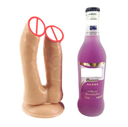 brinquedos do sexo do pau dobro Desconto Realista Duplo Dildo Penetração Penis Big Anal Ventosa sensação real grandes Dick Adult Sex Toys para mulheres lésbicas