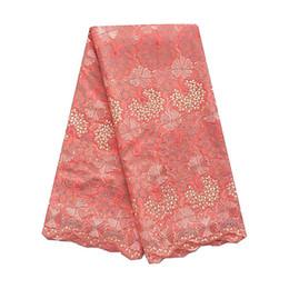 WorthSJLH Africa Tessuto di pizzo svizzero Crema da sposa Tessuto di pizzo asciutto Tessuto di pizzo arancione africano 2019 Abito di alta qualità per donna cheap lace fabric africa dress da vestito di africa del tessuto del merletto fornitori