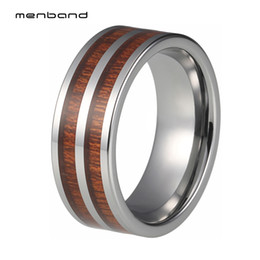 Deutschland Koa Holz Inlay 8mm Silber Herren Damen Wolframcarbid Ring Ehering polnischen glänzend Komfort Fit Jubiläum Ring Geschenk cheap wood anniversary gifts Versorgung