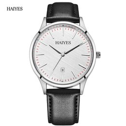 simple watches for men Coupons - Reloj Hombre Men Watches Casual Quartz Wrist Watches For Men Waterproof Simple Design Leather Watch HAIYES Black