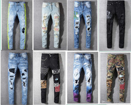 motorcycle goods Promo Codes - fashion Classic Mens Distressed Ripped Biker Jeans Slim Fit Motorcycle Biker Denim For Men Fashion Designer Hip Hop Mens Jeans Good Quality