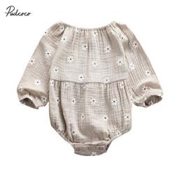 2019 Marca neonato neonata tuta vestiti di cotone lino Outfit autunno Nuova stampa del fiore Sweet Baby Tuta 0-24M da