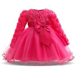 Festa di partito abiti online-Baby Girl Dress Winter Tutu Abiti per neonato Wedding Battesimo Party Wear Toddler Girl 1 anno Compleanno Abiti Battesimo MX190719