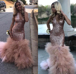 Vestidos de tul rosa online-Impresionante rosa dorada con lentejuelas sirena vestidos de baile 2019 Tulle Ruffle tren profundo cuello en V vestidos de fiesta de noche BC1836