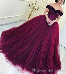 2019 Vino Rojo Quinceañera Vestido Princesa árabe Dubai Fuera Del Hombro Dulce 16 Edades Long Girls Prom Party Pageant Vestido Más Tamaño Por Encargo