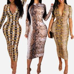camisolas de chão Desconto Chegada nova das mulheres dress designer para o verão de luxo de pele de cobra impressão manga comprida dress com decote em v bodycon dress sexy club estilo venda quente