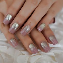 2019 künstliche fingernägel Light Purple Glue On Back Künstliche Nägel Shiny Champagne Glitter Falsche Nail Square UV Gel Polish Fingernägel 24-tlg günstig künstliche fingernägel