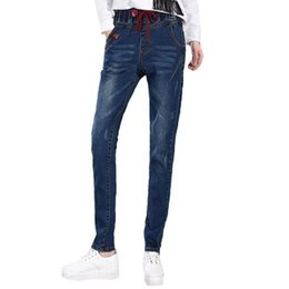 2019 das mulheres de Alta elastic stretch cintura reta jeans longo versão coreana de Slim cintura alta moda calças de brim trendyol modis # SL de
