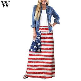2019 bandiera della boemia Gonna da donna Womail Summer Bohemian Striped Bandiera americana Gonna lunga stampata Gonne lunghe casual da donna 2019 M523 bandiera della boemia economici