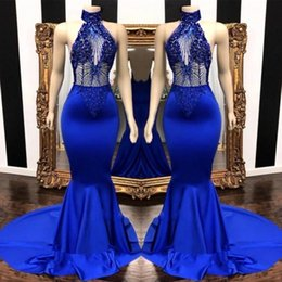2019 haut col haut robe de bal Populaire royal bleu haut robes de bal sexy 2019 sirène voir à travers des perles paillettes top satin longue robe de soirée BC0798 promotion haut col haut robe de bal