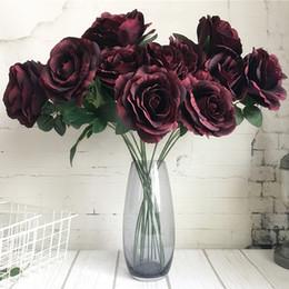 Fiori di seta rossi grandi online-Grandi rose Ramo di lusso Fiori artificiali Fleur Artificielle Casa Decorazione di nozze Fiori finti di seta Red White Rose 2heads