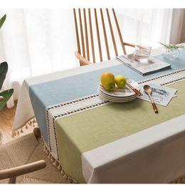 Одежда для магазина кофе онлайн-Хлопок и лен вышивка кисточкой скатерть кафе главная гостиная прямоугольник простой Моды чай стол одежда 56lx8C1