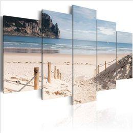 Cuadros del panel paisaje online-5pcs / set Island Beach pintura decorativa sobre lienzo (sin marco) Seaside Natural Scenery Pictures para la decoración casera gran cartel
