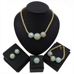 necklaces design dubai Promo Codes - TSROUND Dubai Gold Jewelry Sets for Women Crystal Green Ball Shape Fashion African Wedding Wholesale Design