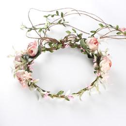 Corone di nozze artificiali rose ghirlande di fiori da sposa fiore di seta copricapo da sposa vacanza spiaggia fiore ghirlanda rosa rosa copricapo da