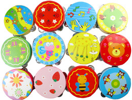 artigos de plástico Desconto Hand Held Tambourine Tambor Sino Dos Desenhos Animados Padrão de Percussão de Madeira Brinquedo Musical para o Partido KTV Crianças