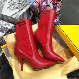 botines marrones sexy Rebajas Rockoko Elastic Woman Botines de cuero Botas largas y cortas Sexy para mujer Negro Rojo Marrón Botas sobre la rodilla Vestido Zapatos de boda Zapatos Mujer