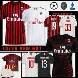 2019 tailandia jersey de futebol ao atacado Thai AC Milan 1920 2020 New Futebol 2019 2020 Piatek Paquetá SUSO BONAVENTURA HIGUAIN CALHANOGLU CALDARA Homens Jerseys Football Shirt