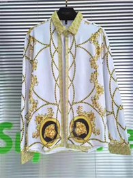 92019 Herrenhemd French Street Fashion Harajuku Freizeithemd Herren Medusa Schwarz Gold Tiger Leopard Fancy Slim Shirt von Fabrikanten
