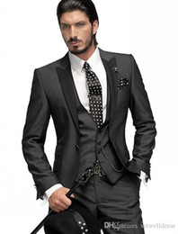 2019 abiti d'argento per prom 2019 New Black Smoking dello sposo Cheap Best Man Prom Suit Peak Risvolto Groomsmen Suit Custom Made uomini Abiti da sposa (Jacket + Pants + Vest) abiti d'argento per prom economici