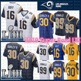 Jerseys de fútbol cosido online-Hombres St.louis Jersey Rams 30 Todd Gurley II 99 Aaron Donald 16 Jared Goff 2019 Super Bowl LIII Camiseta de fútbol bordado azul blanco
