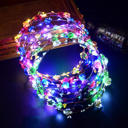 wedding hair accessories flower girl Promo Codes - 100pcs Colorful Flashing LED Flower Headband Luminous Floral Hair Garland Wreath Wedding Women Girl Decoration Hair Accessories