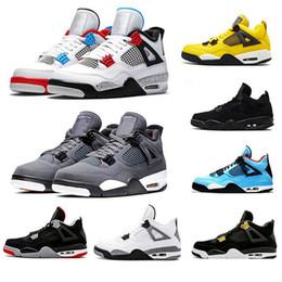 Alas de mujer zapatos deportivos online-tamaño 36-47 Bred 4 4s IV Lo Las zapatillas para hombre Cactus Jack Wings láser Mujeres Baloncesto Denim azul pálido Eminem Citron Deportes zapatillas de deporte