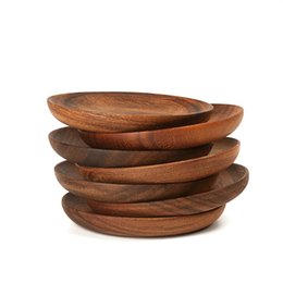 wood plates Coupons - Round Plate Solid Wood Small Dishes Unpainted Dried Fruit Cake Dessert Resistance To Fall Difficult To Deform Creative 32cyC1