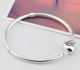 braccialetto d'ottone africano Sconti 2018 marca originale 925 argento cuore catenaccio perline 3mm catena bracciali serpente adatto europeo Pandora cuore Charms bracciale gioielli moda fai da te
