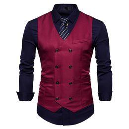 casaco casual Desconto Colete dos homens novos Slim Fit Double Breasted Vestido Terno Coletes Moda Slim Fit Homens Colete Casual Colete Gilet Homme Traje 03