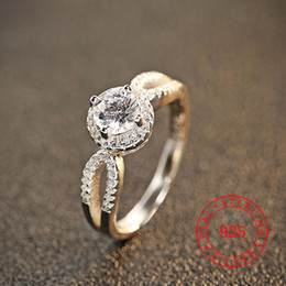 Cz 925 anillo de porcelana online-China por mayor de alta calidad de la manera 925 de la joyería grandes anillos de piedras preciosas anillo de diamante de la CZ Anillo de boda para el accesorio de la joyería de las mujeres