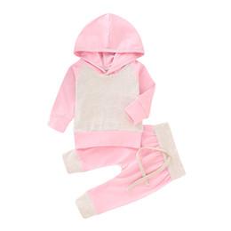 2019 pontos de roupas de roupas Infantis bebê conjunto sólido Toddle Meninas Sólidos costura Hoodie Crianças roupas de grife Meninas Vêtement Vebe bebê Outfits Hoodie Pants Set 06 pontos de roupas de roupas barato