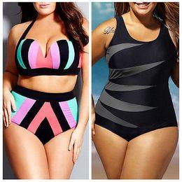 bikini xxxxl Rebajas 2019 Nuevo conjunto de bikini push up de cintura alta para mujer talla grande traje de baño a rayas traje de baño de playa traje de baño grande Xl Xxl Xxxl Xxxxl