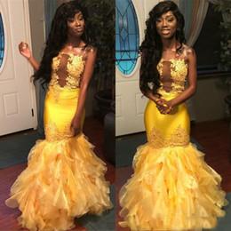 2019 vestidos chá comprimento frente mais comprido 2019 Amarelo Africano Sereia Vestidos de Baile Sem Alças Apliques de Tule Ruffles Vestidos de Noite Plus Size Vestido de Festa para Meninas Negras