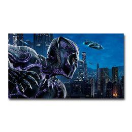 2019 poster schwarzes licht Black Panther 2018 Film 22 Wandaufkleber Silk Plakat-Kunst-Licht Leinwand Home Decoration rabatt poster schwarzes licht