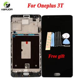 """Oneplus um quadro on-line-Lcd do telefone para oneplus 3 t display touch screen com frame digitador assembléia tela de substituição para oneplus 3 one plus 3 t 5.5 """""""