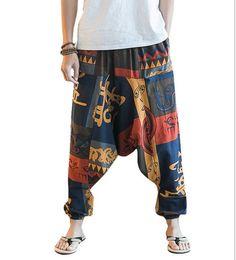 más el tamaño de las mujeres pantalones holgados harén Rebajas Nuevo Hip Hop Aladdin Hmong Baggy Cotton Linen Harem Pants Hombres Mujeres Tallas grandes Pantalones anchos New Boho Casual Pants Cross-pants