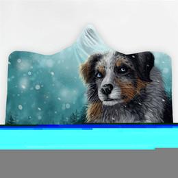 lana de lobo Rebajas Cálido Invierno Manta con capucha sudadera con capucha del perro del lobo polar de coral impresos portátiles anti-pilling gracioso agosto Manta adultos Inicio Viaje