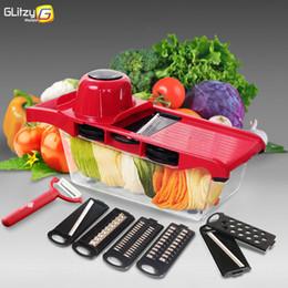 2019 gemüsebehälter Gemüseschneider Mandoline Slicer mit Behälter 6 in 1 Food Vegetable Spiralizer für Obst Kartoffel Zwiebel günstig gemüsebehälter