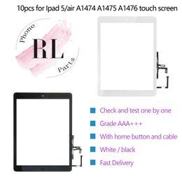 2019 ipad air parts 10 piezas para iPad 5 ipad air A1474 Touch Digitalizador Asamblea de pantalla con botón de inicio Flex Cable Ribblin y adhesivo adhesivo piezas de repuesto ipad air parts baratos