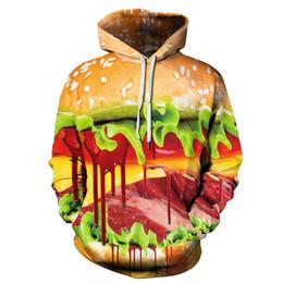 jersey de hamburguesa Rebajas Dropship nueva hamburguesa 3D Hoodies Hombres Mujeres cráneo Impreso camiseta de los chándales de moda Streetwear sudadera Outwear