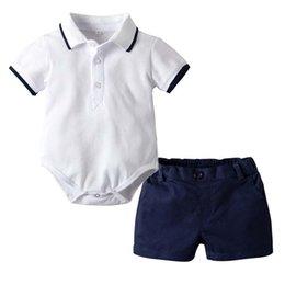 Mesi vestiti infantili estivi online-Estate 18 24 mesi ragazzi Set abbigliamento bambini vestiti firmati ragazzi Infant Outfit Baby Pagliaccetti + Pantaloncini pantaloni baby boy abiti firmati A2435