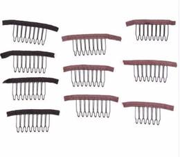 Clip marrone parrucche online-2019 Clip per parrucche Combs 10 Pz / pacco Parrucca Pettini Clip per capelli per le estensioni Colore marrone nero 6 8 Denti