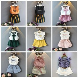 ribbon suits Promo Codes - Girls Designer Suit 2-7T Two-piece Clothing Sets Summer Outfits Cotton Chiffon Shirt Shorts Tops Short Pants Girls Summer Boutiques
